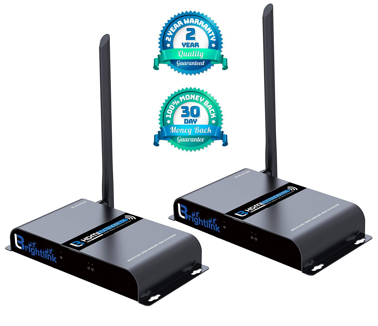 Brightlink New 200 M./ 656 Ft. HDMI Wireless Extender with Full HD 1080P @60Hz, Wide Band IR Passback & 5GHz Low Interference Frequency Range (Model # BL-WL-EXT200)