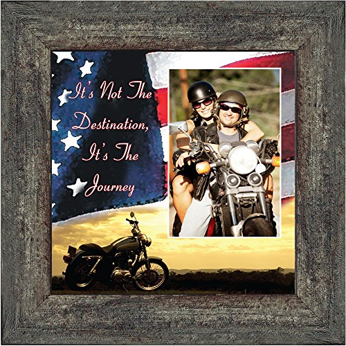 Harley Davidson Photo Frames (Harley Davidsons Motorcycle, Its not the destination with American Flag Background , 10X10 9752BW)