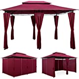 """4x3m Gazebo Marquee Canopy """"Topas"""" - Garden Party Outdoor Tent Reception Event Shelter & Ventilation - Red"""