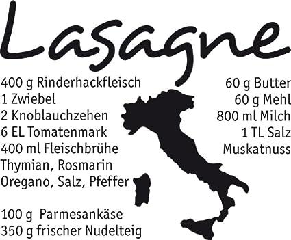 GRAZDesign Wandtattoos Küche Esszimmer Sprüche - Aufkleber für Küche  Lasagne - Wandtattoo Küche Italien / 48x40cm / 070 schwarz