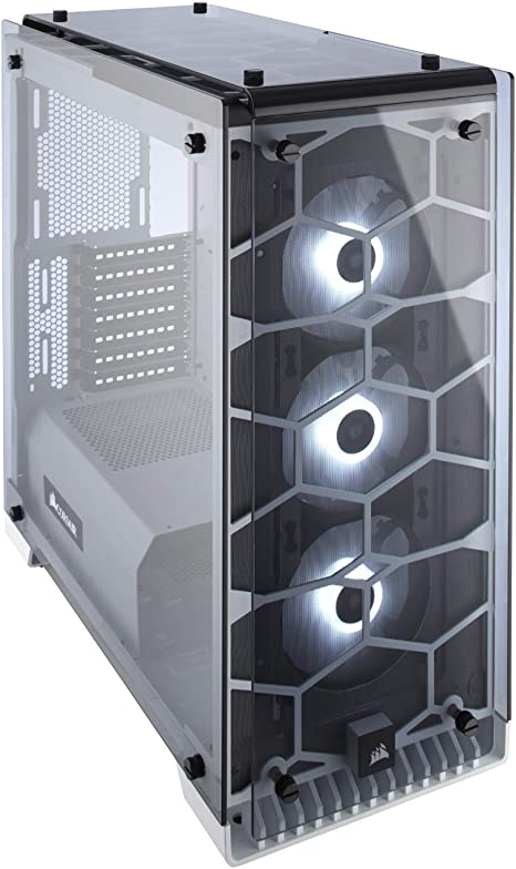 Premium ATX Mid Tower Case CORSAIR Crystal 570X RGB Tempered Glass WHITE