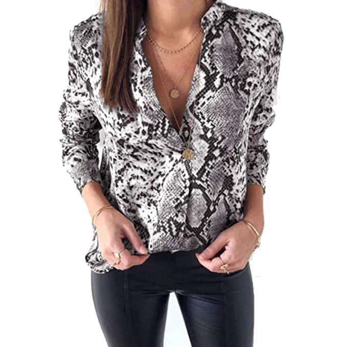 Women Snakeskin Shirt Long Sleeve V-Neck Button Down Blouse Tops