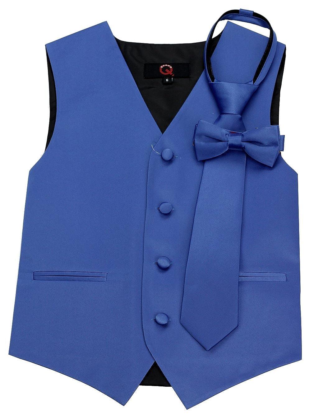 Brand Q Boy's Tuxedo Vest, Zipper Tie & Bow-Tie Set in Royal Blue Brand Q Boy's Tuxedo Vest B10i