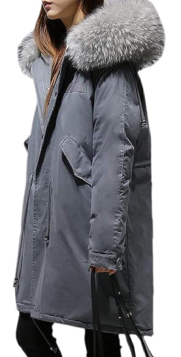 4 pujinggeCA Women Winter Puffer Down Faux Fur Hood Oversized Thick Jacket Coat