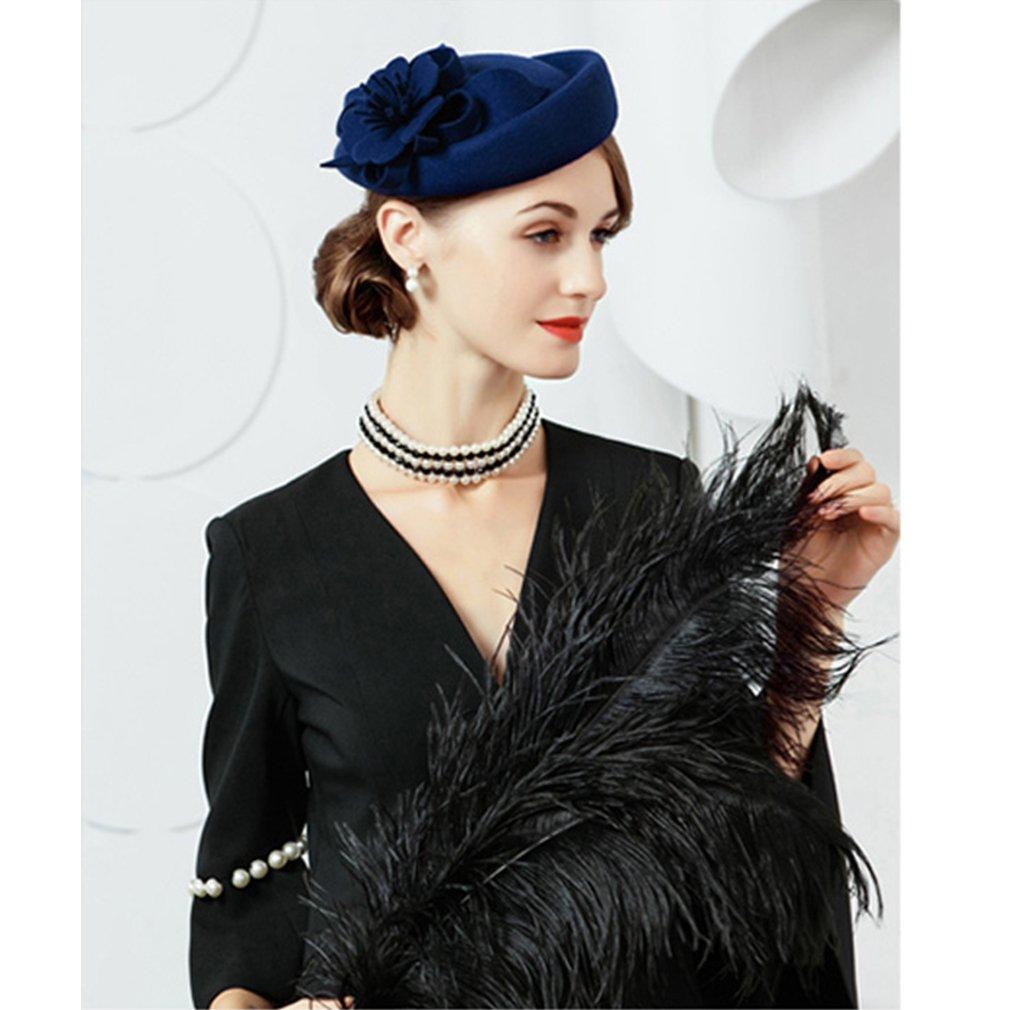 231cc598c1c5e Krastal Fascinators Wool Felt Floral Pillbox Hats Wedding Formal British  Fedoras at Amazon Women s Clothing store