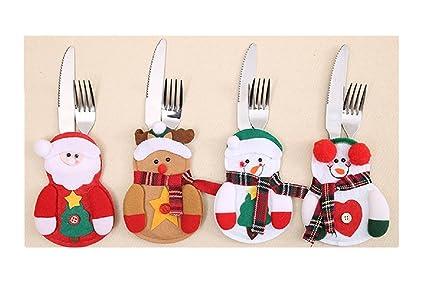 EDTOY 1 pcs decoración navideña muñeco de nieve plateado soporte de cubiertos para bolsillos cena mesa