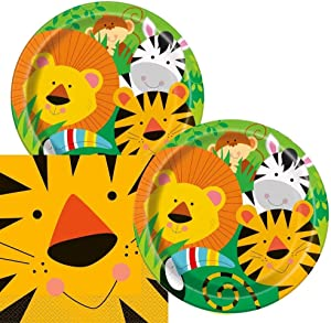 Lobyn Value Packs Jungle Animals Themed Birthday Party Napkins and Plates (Serves 16)