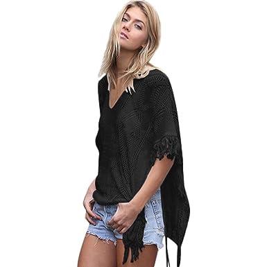 d3b6dc40d2683 Halijack Women Summer Beach Cover up, Fashion Tassel Knitting V-Neck Short  Sleeve T
