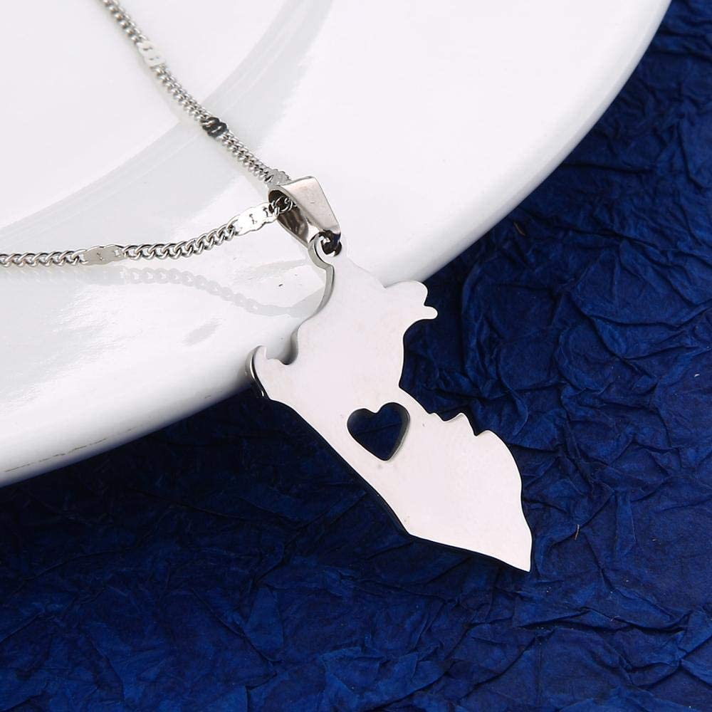 Stainless Steel Peru Map Pendant Necklaces Map Of Peru Heart Chain Jewelry