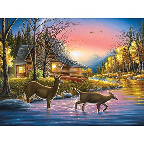 Bits and Pieces - 500 Piece Jigsaw Puzzle for Adults - River's Crossing - 500 pc Log Cabin and Deer Jigsaw by Artist Chuck Black