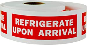 "TUCO DEALS - 1200 Labels 1.25"" x 4"" REFRIGERATE Upon Arrival Self Adhesive Warning Shipping Mailing Labels/Stickers (Red - 4 Rolls)"