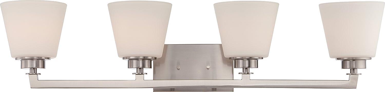 Slvr. B//S Nuvo Lighting 60//5454 Four Light Fixture Vanity Pwt Nckl