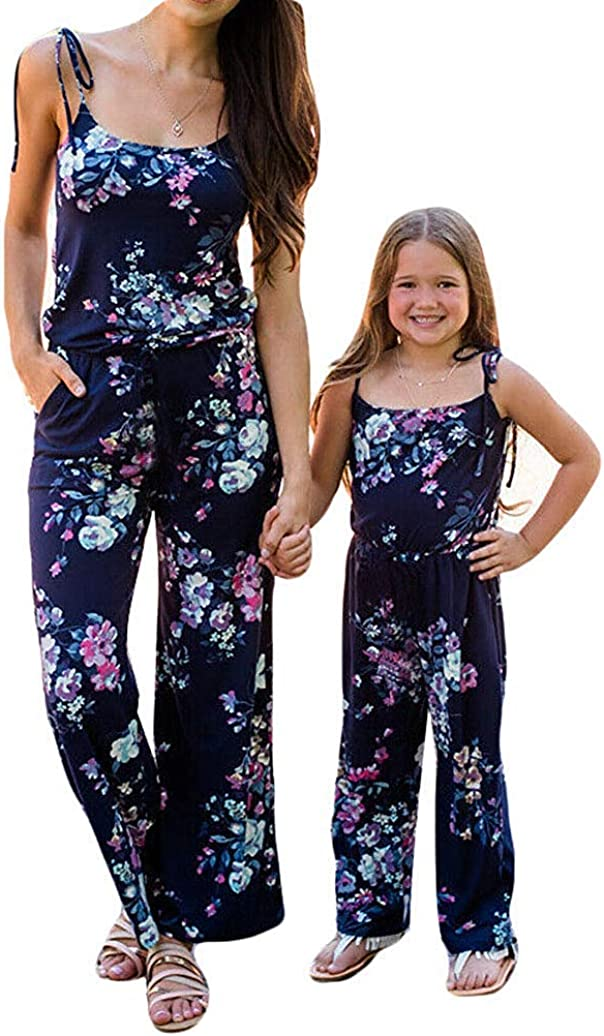 Sejardin Mommy and Me Jumpsuit Floral Print Wide Leg Long Pants Spaghetti Straps Bandage Summer Beach Rompers