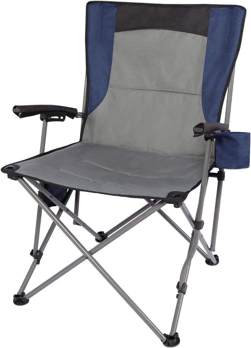 PORTAL Portable Folding Camping Chair with Cup Holder Pocket and Hard Armrest, Supports 300 Lbs, Blue