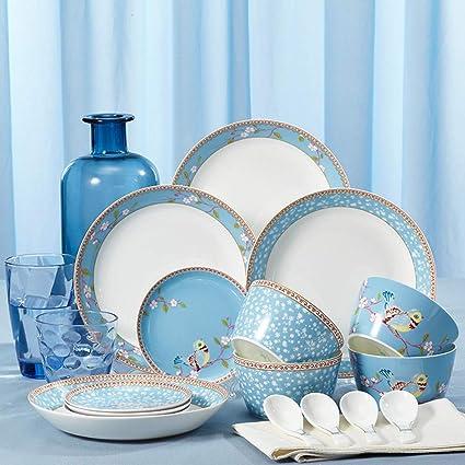 Set de cubiertos Tangshan cerámica platos de la casa japonesa cubiertos fideos creativos cuenco de arroz
