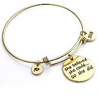 Gold Bracelet Jewelry Graduation Gifts - YouMiYa 2018 Inspirational Bracelets Series She Believed She Could So She Did Adjustable Bracelet Bangle For Women