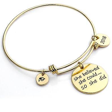 Inspirational Bracelet She Believed She Could so She Did Women Girl Family Friend Adjustable Bangle Gift SX1OONv
