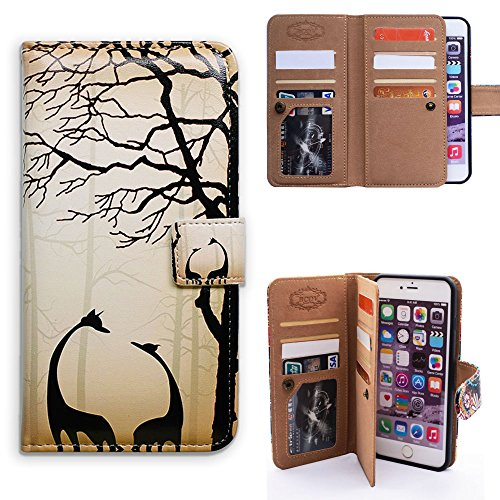 Black Giraffe Wallet - Bfun Packing iPhone 6S Plus Case,Bcov Black Giraffe Style 9 Slot Leather Wallet Cover Case For iPhone 6 Plus/6S Plus