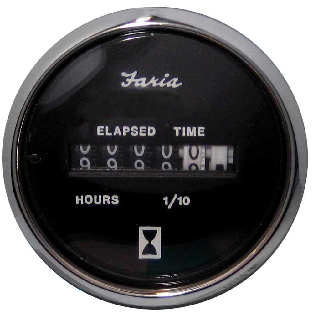 Faria Chesapeake Black SS2'' Hourmeter (10,000 Hrs) (12-32VDC)
