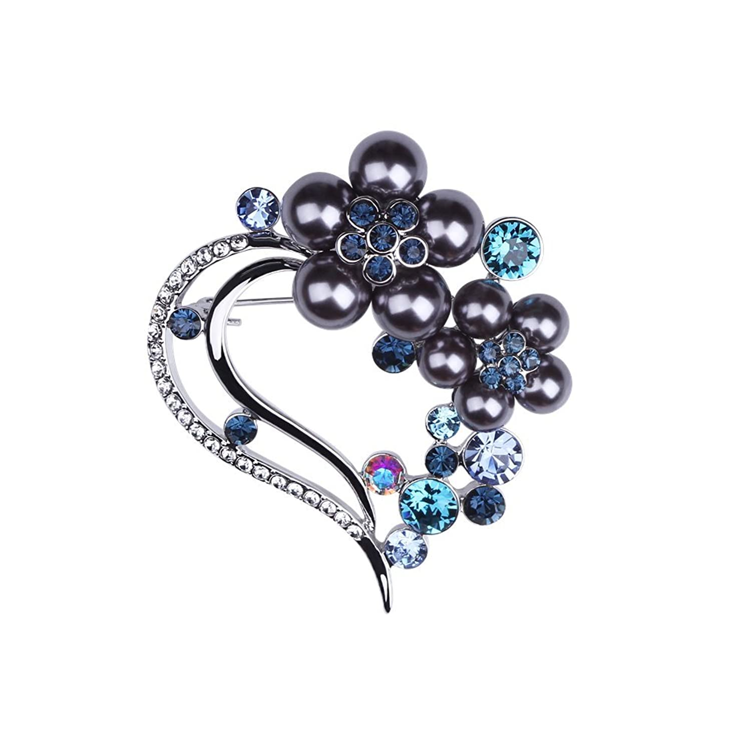 a557546f6 Exquisite Pearl Heart-shaped Women's Brooches Swarovski Crystal Rhinestone  Brooch Pin for Wedding Gift