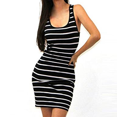 0dcebd75195 JYC Clearance Women s Party Casual Sundress Women Sleeveless Striped Loose  Dress Casual Striped Asymmetrical Spaghetti Strap Sleeveless Bodycon Maxi  Dress ...