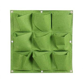 ZYCX123 Inicio Producto 50 * 50cm Bolsa de Fieltro Plantas 9 Bolsillos Verde 1 PC: Amazon.es: Hogar