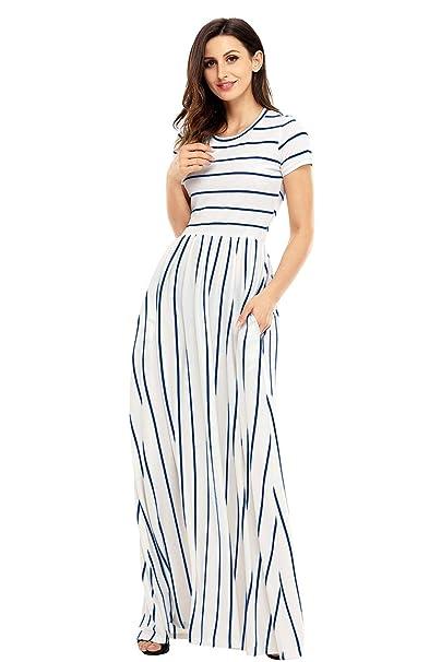 emmarcon Abito Vestito Lungo a Righe Semplice ed Elegante Maxi Dress-White-Blu-S   Amazon.it  Abbigliamento 3c63aa3ccd6