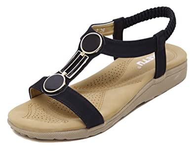 DQQ Damen Offener Zehenbereich T Strap Flache Sandalen, Beige - Beige - Größe: 37