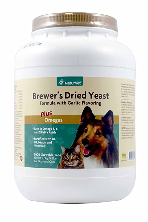 NaturVet BREWERS DRIED YEAST With Garlic Omega 3 & 6 Dogs & Cats 5000 Tablets