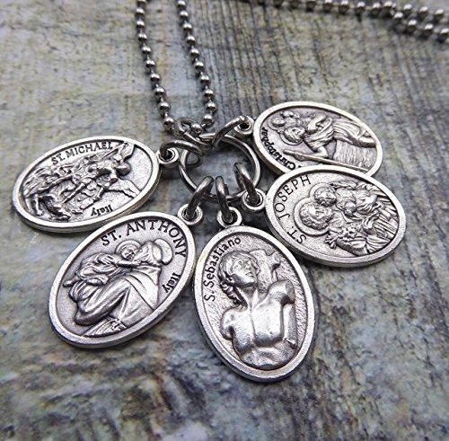 Protection Lucky Charm, Boys, Men, Teens, Holy Medal Necklace or Keychain, St. Joseph, Anthony, Michael, Sebastian, Christopher Patron Saints