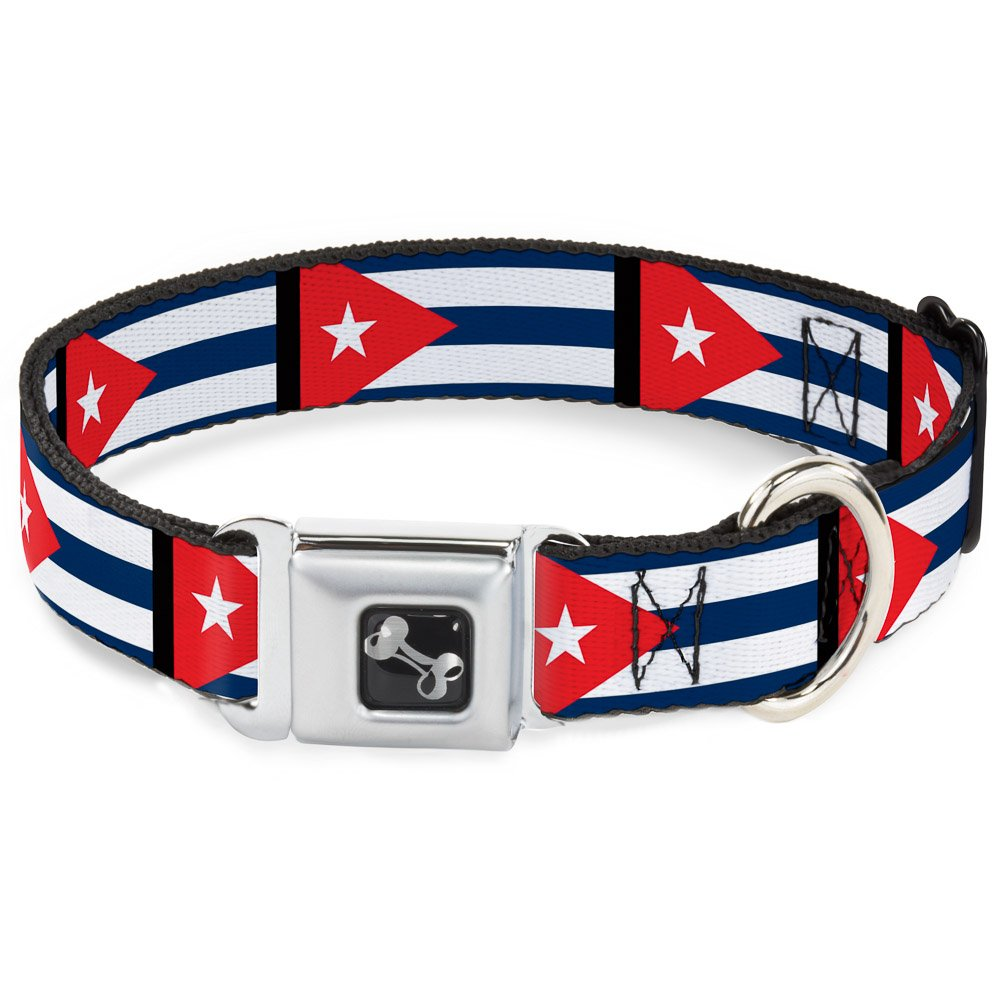 Buckle-Down Cuba Flags Dog Collar Bone, Wide Medium 16-23