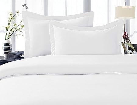 Juego de sábanas de algodón egipcio de 1000 hilos para cama tamaño King, 4 piezas, color blanco: Amazon.es: Hogar