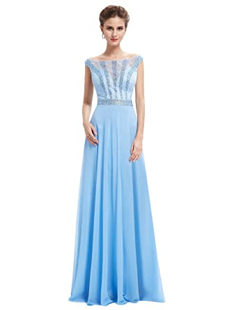 Cloverdresses Womens Off Shoulder Light Blue Long Prom Dresses Long Evening Dress With Sequins