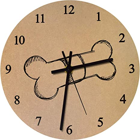 Azeeda 275mm Hueso de Perro Reloj de Pared Grande de MDF (CK00023967)