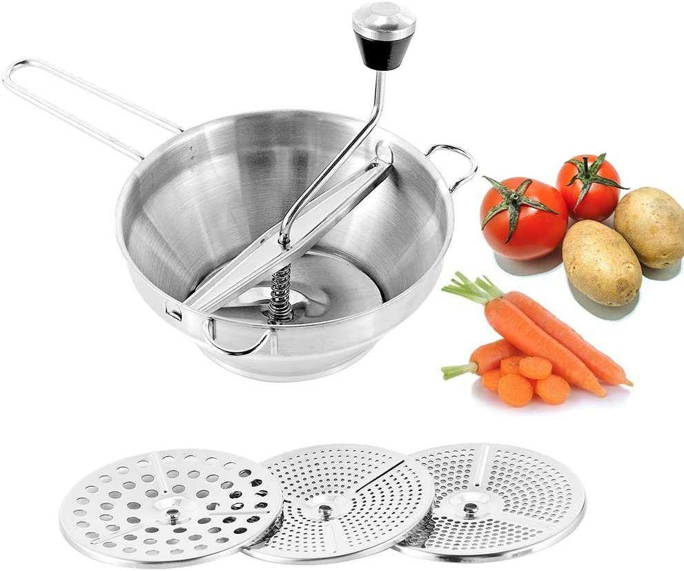 Moongiantgo Stainless Steel Food Mill Hand Crank Manual Grinder for Making Puree or Soups of Vegetables Mashed Potato Tomato Carrot Pumpkin Jams Sauces with 3 Milling Discs (Silver)