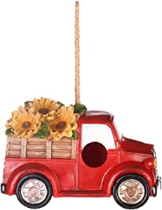 Polystone Resin Bird House Outdoor Garden Bird House, Red Truck with Flowers