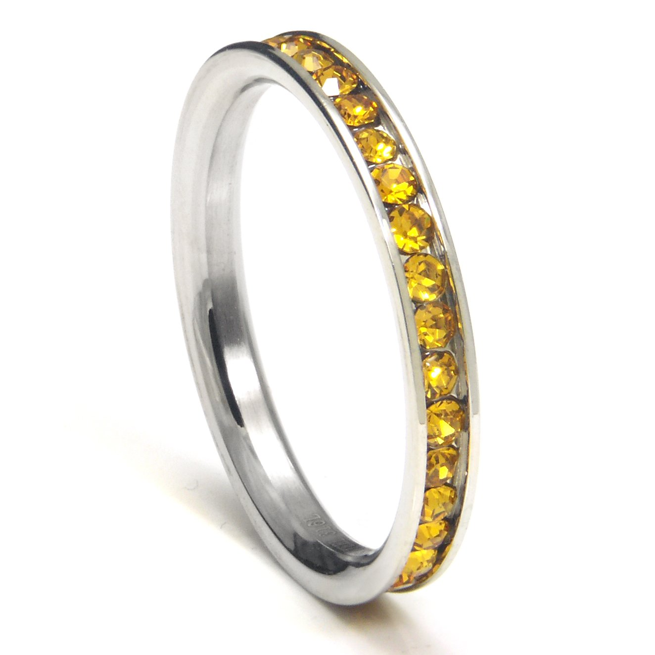 316L Stainless Steel Lemon Yellow Cubic Zirconia CZ Eternity Wedding 3MM Band Ring Sz 8