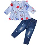 Baby Girls Off Shoulder Polka Dot Top+Destroyed Ripped Jeans+Headband Clothes Outfit Set