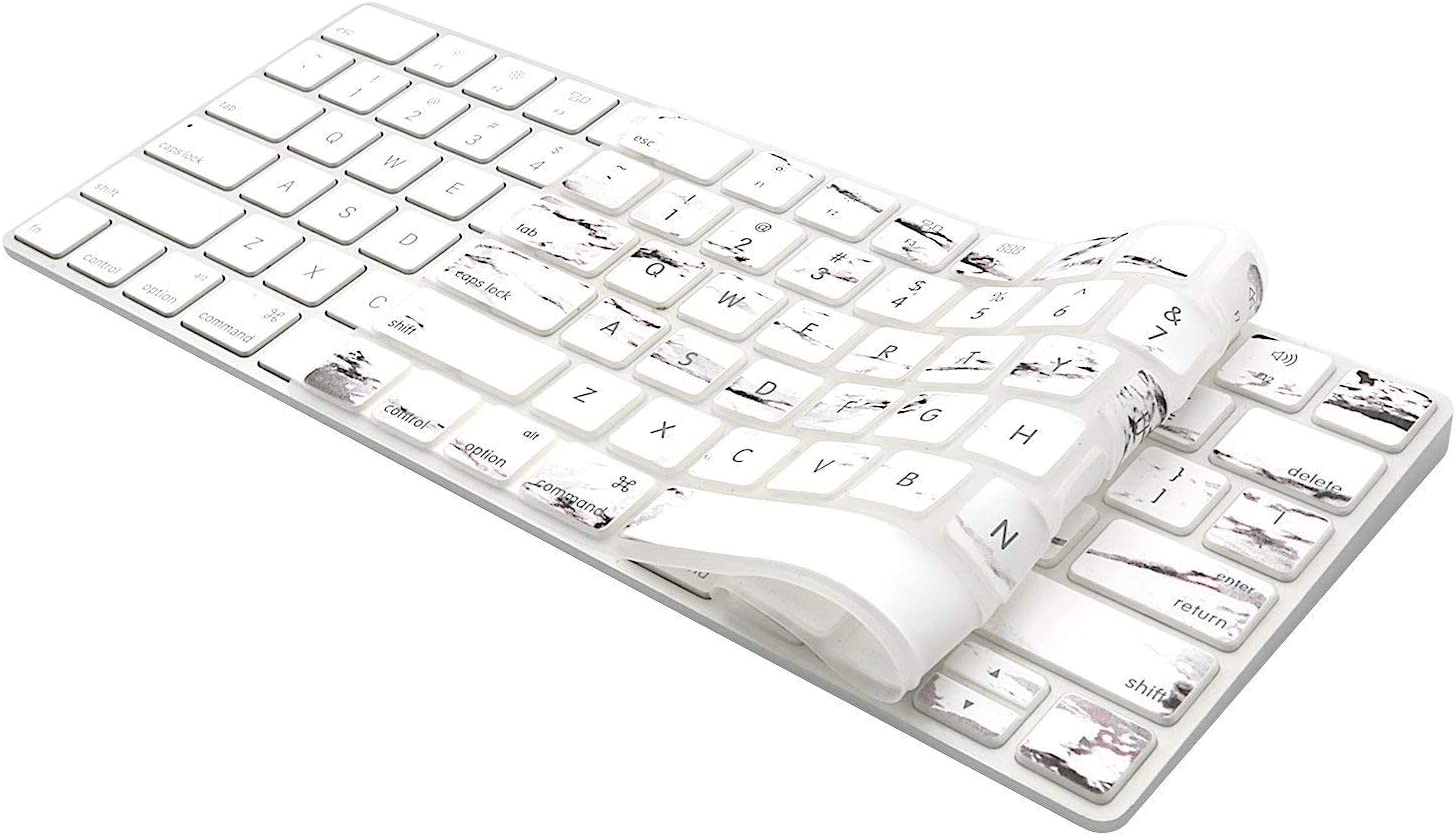 2015 US Version MOSISO Keyboard Cover Compatible with iMac Wireless Magic Keyboard Type Protector MLA22LL//A, A1644 White Marble Soft Protective Ultra Thin Pattern Keyboard Skin