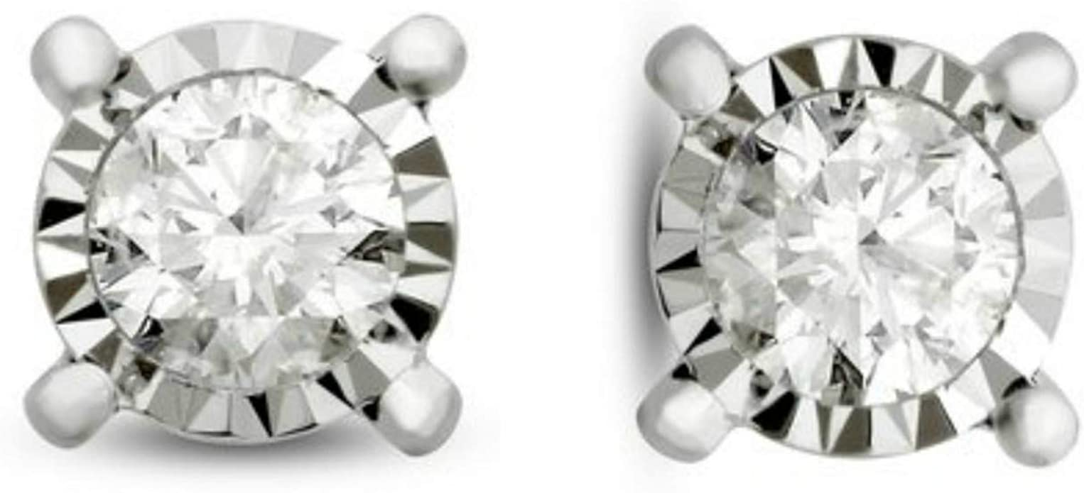 14K White Gold Halo Stud Solitaire 0.50 Carat Total Weight 0.54 Carat White Diamond Earrings Jackets For 4 MM