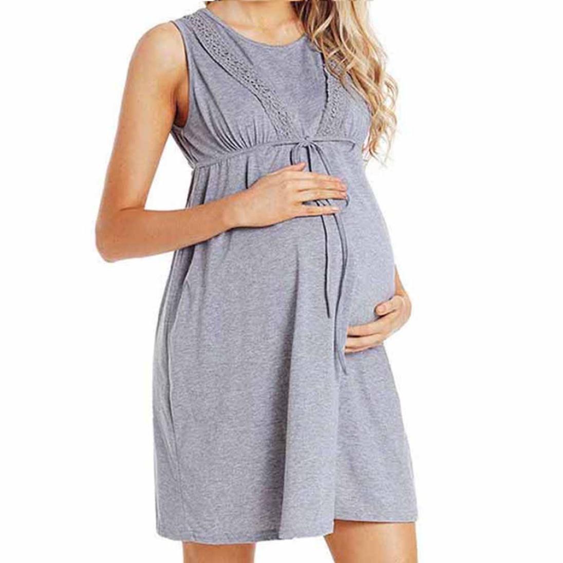 Amphia Vestido Embarazadas Ropa, Vestido sin Mangas S del Cordón del Cordón de la Cintura del Abrigo del Cuidado del Embarazo de Las Mujeres del Verano: ...