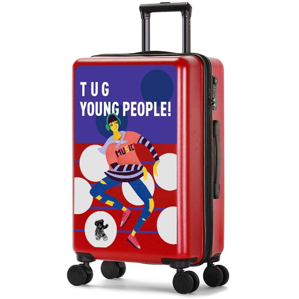 FRF トロリーケース- 学生の漫画のトロリー箱18/20インチのシャーシ、普遍的な車輪の荷物のスーツケース24インチ (色 : 赤, サイズ さいず : 24in) 24in 赤 B07R21BJ4L