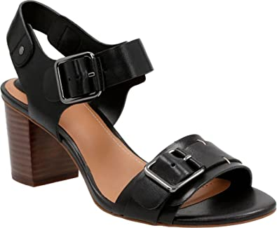 12e187e1bd5f CLARKS Ralene Dazzle Womens Heeled Sandals Black Leather 6.5