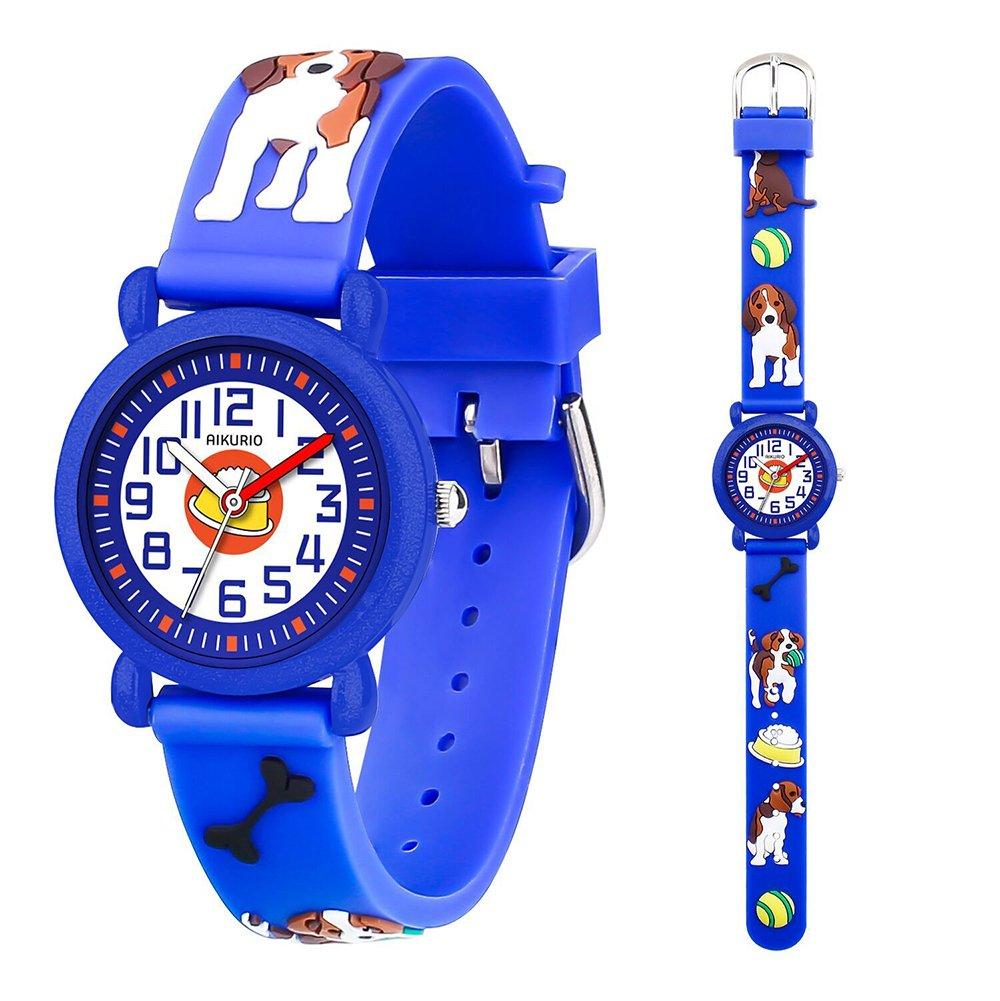 Kid's Watch for Children Boys Girls Waterproof Quartz Watch with 3D Cute Cartoon Pattern Silicone Band