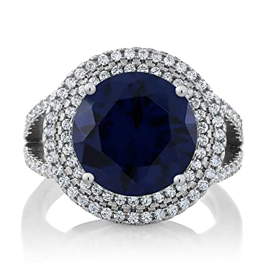 4e2367d4cd Gem Stone King Sterling Silver Round Blue Simulated Sapphire Women's Ring  (7.56 cttw Available 5