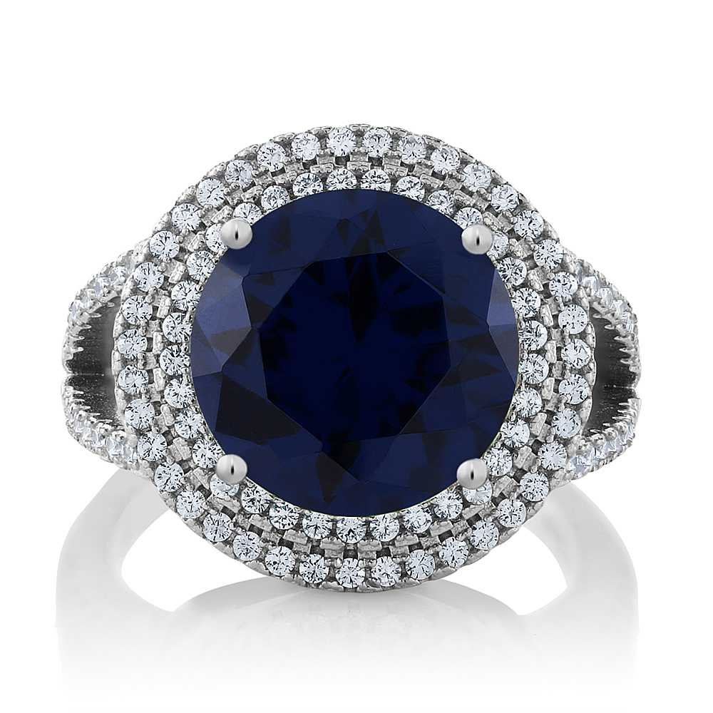Sterling Silver Round Blue Simulated Sapphire Gemstone Women's Ring 7.56 cttw (Size 9)
