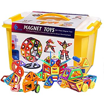 GLOUE 254 PCS Magnetic Building Blocks,Have 200-Piece Magnetic Tiles And 54-Piece Letter Card(Can Be Mounted)- Deluxe Building Set