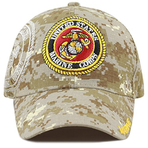 THE HAT DEPOT Official Licensed Military Cap with Logo (Marine-Desert Digi Camo) (Hat Camo Marines)