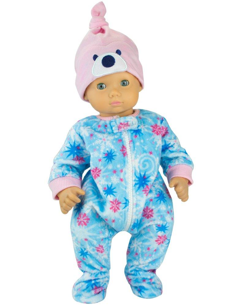 Winter Doll Pajamas for 15 Inch Dolls, 2 Piece Snowflake Sleeper Includes Night Cap Sophia' s