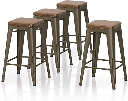 VIPEK 26″ Counter Height Bar Chair Commercial Grade Metal 26 Inches Seat Height Barstool Backless